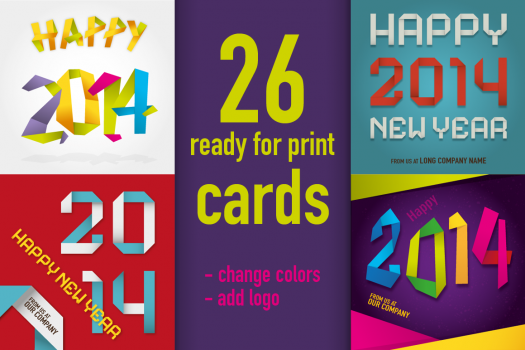 Happy 2014 cards (ready for print)