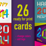 "26 ""Paper Fold"" ready for Print Vector Cards - Happy 2014"